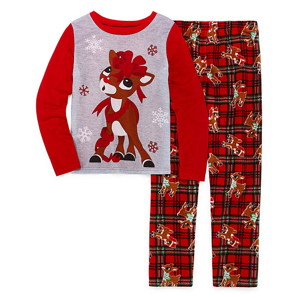 North Pole Trading Co. Rudolph Family Girls 2-pc. Rudolph Pant Pajama Set Preschool / Big Kid