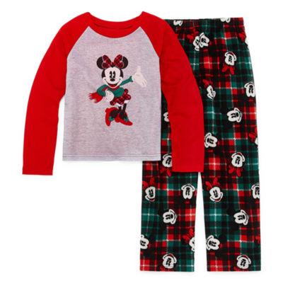 Disney Mickey Mouse Family Graphic Tee Girls 2 Piece Pajama Set - Preschool/Big Kid