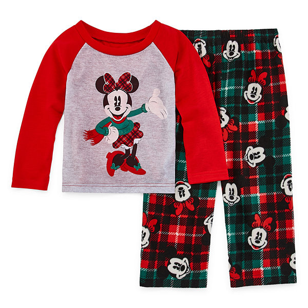 Disney Mickey Mouse Family Graphic Tee Girls 2 Piece Pajama Set - Toddler