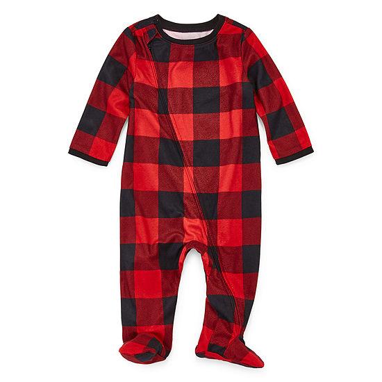 North Pole Trading Co. Buffalo Plaid Family Footed 1 Piece Pajama -Unisex Baby