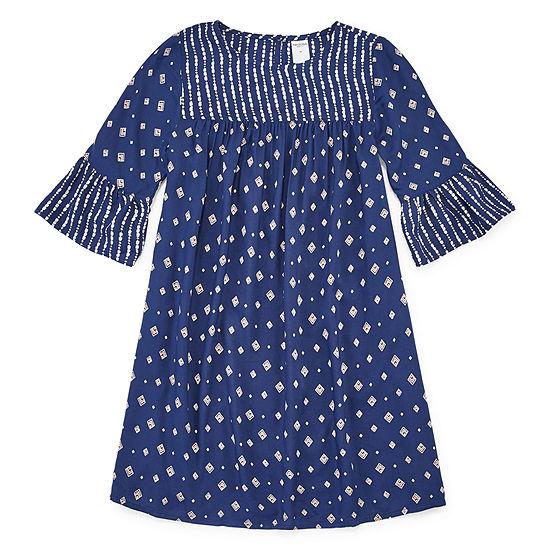 Arizona Girls 3 4 Sleeve Bell Sleeve A Line Dress Preschool Big Kid