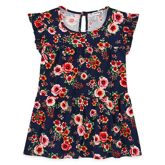 Eyeshadow Little & Big Girls Plus Round Neck Short Sleeve Blouse
