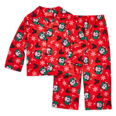 Disney Mickey Family Boys 2 Piece Coat Front Pajama Set - Toddler