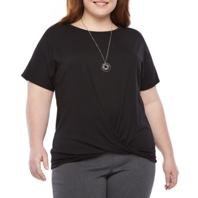 Alyx Womens Round Neck Short Sleeve Peasant Top-Plus