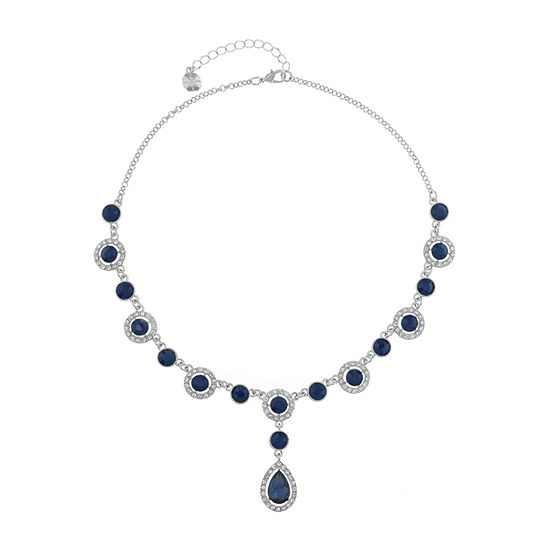 Monet Jewelry Halo Effect Womens Blue Round Y Necklace