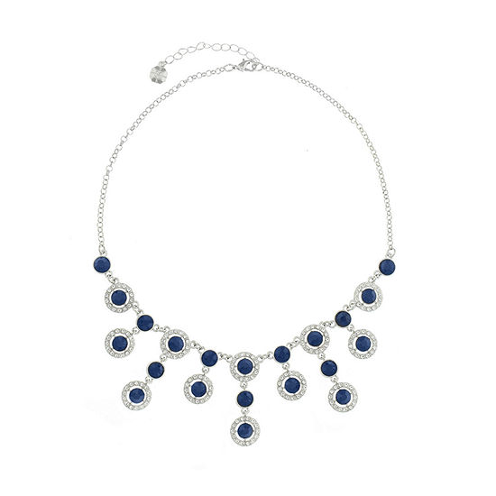 Monet Jewelry Halo Effect Blue 17 Inch Cable Round Statement Necklace