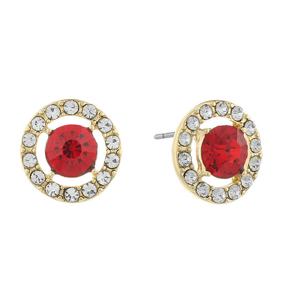 Monet Jewelry Halo Effect Red 14mm Round Stud Earrings