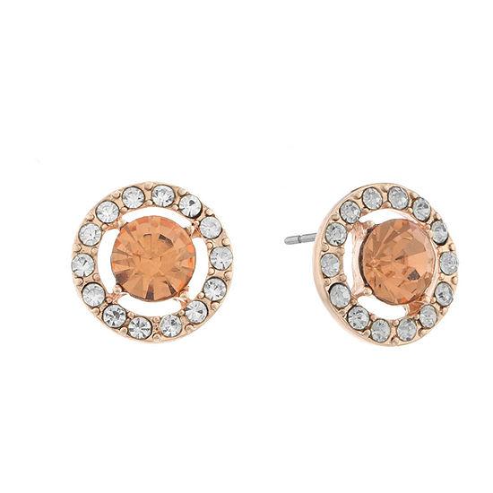 Monet Jewelry Halo Effect Orange 14mm Round Stud Earrings