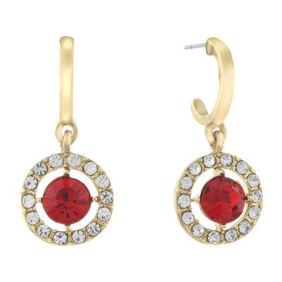Monet Jewelry Halo Effect Red 22mm Round Hoop Earrings