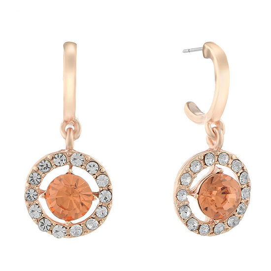 Monet Jewelry Halo Effect 1 Pair Orange Round Hoop Earrings