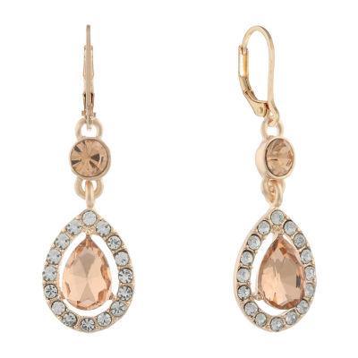 Monet Jewelry Halo Effect Orange Round Drop Earrings