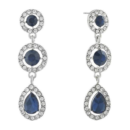 Monet Jewelry Halo Effect Blue Round Drop Earrings