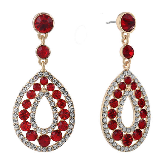 Monet Jewelry Halo Effect 1 Pair Red Round Drop Earrings
