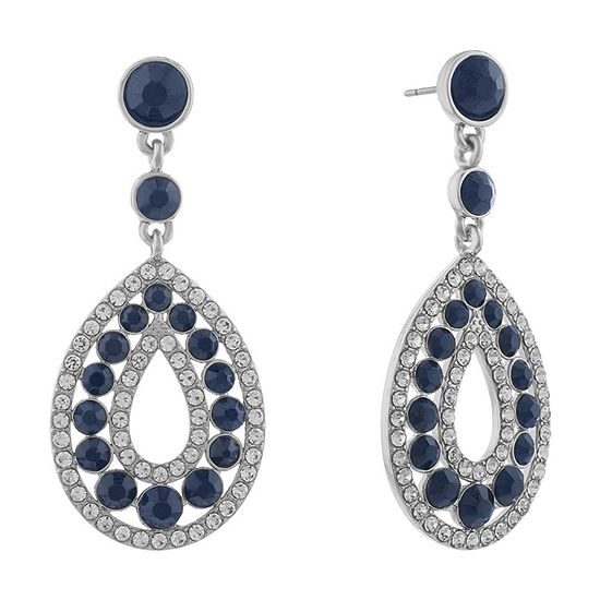 Monet Jewelry Halo Effect 1 Pair Blue Round Drop Earrings
