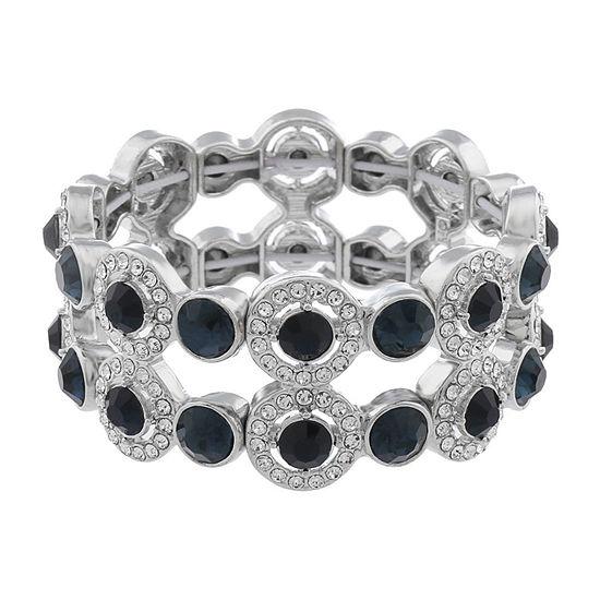 Monet Jewelry Halo Effect Blue Round Stretch Bracelet