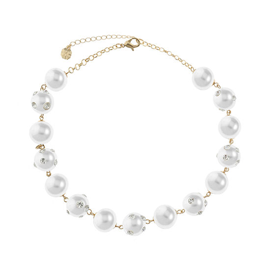 Monet Jewelry White 17 Inch Collar Necklace
