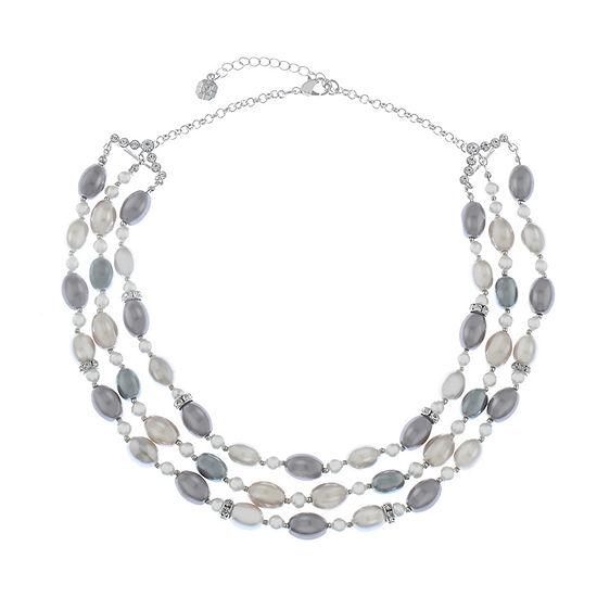 Monet Jewelry Womens Gray Strand Necklace