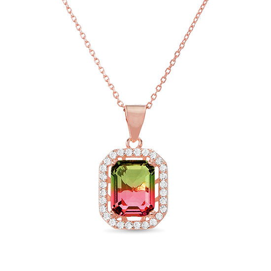 Inspired By You Womens Simulated Multi Color Tourmaline 14K Rose Gold Over Silver Pendant Necklace