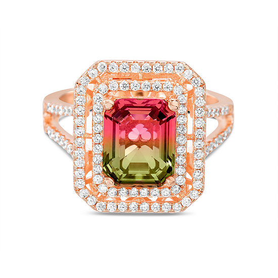 Inspired By You Womens Simulated Multi Color Tourmaline 14k Rose Gold Over Silver Cocktail Ring