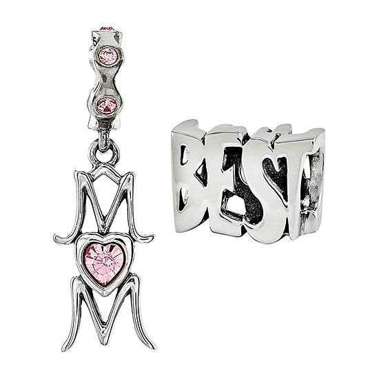 """PS Personal Style """"Best Mom"""" Crystal Sterling Silver Bead"""