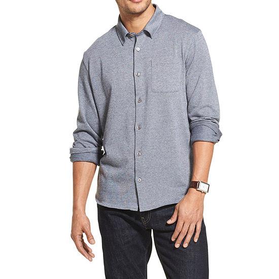 Van Heusen Never Tuck Mens Long Sleeve Jacquard Button-Front Shirt
