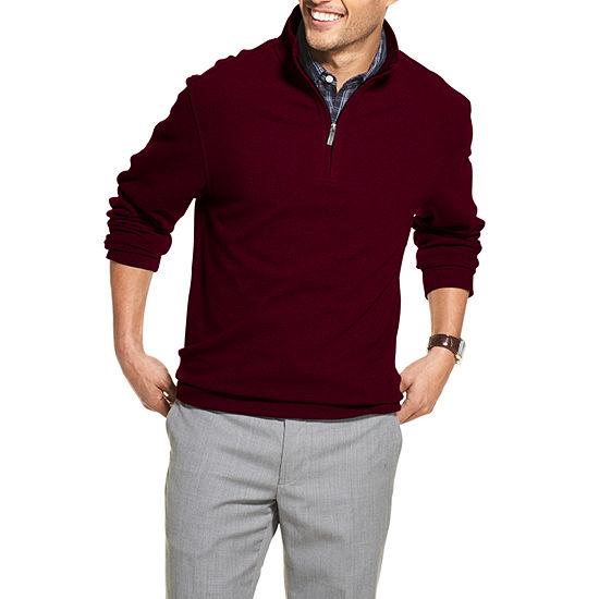 Van Heusen Never Tuck Quarter-Zip Fleece Pullover