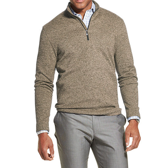 Van Heusen Flex Mens Mock Neck Long Sleeve Quarter-Zip Pullover