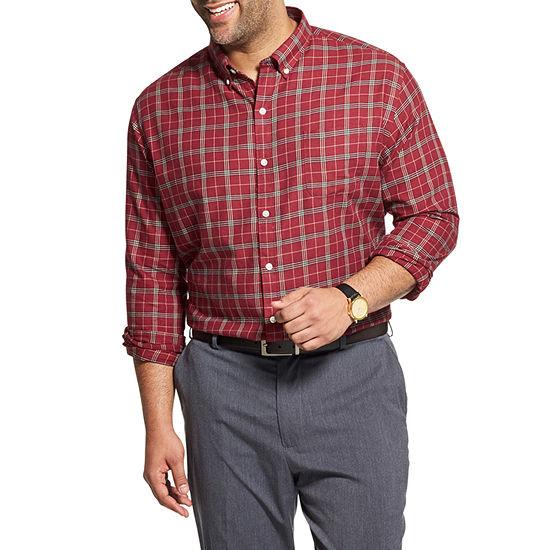 Van Heusen Big and Tall Mens Long Sleeve Plaid Button-Front Shirt