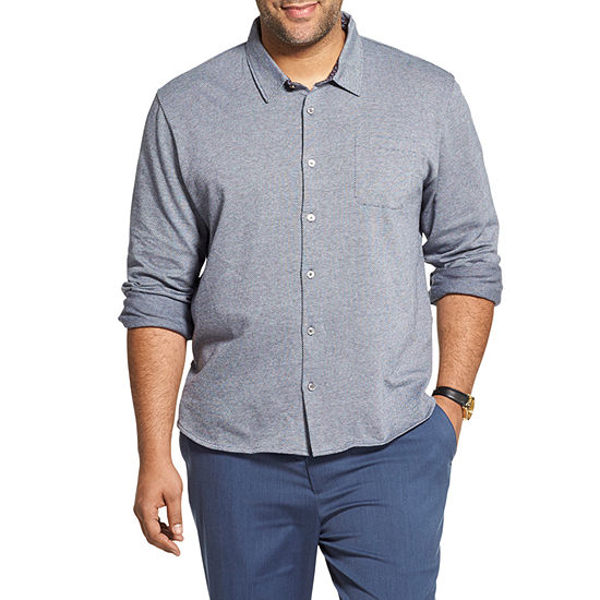 Van Heusen Mens Long Sleeve Button-Front Shirt Big and Tall