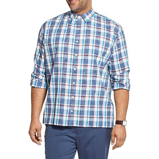 Van Heusen Big and Tall Mens Long Sleeve Plaid Button-Down Shirt