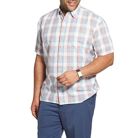 Van Heusen Big and Tall Nevertuck Ss Wovens Mens Short Sleeve Plaid Button-Front Shirt