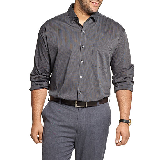 Van Heusen Mens Cowl Neck Short Sleeve Cooling Plaid Button-Front Shirt Big and Tall