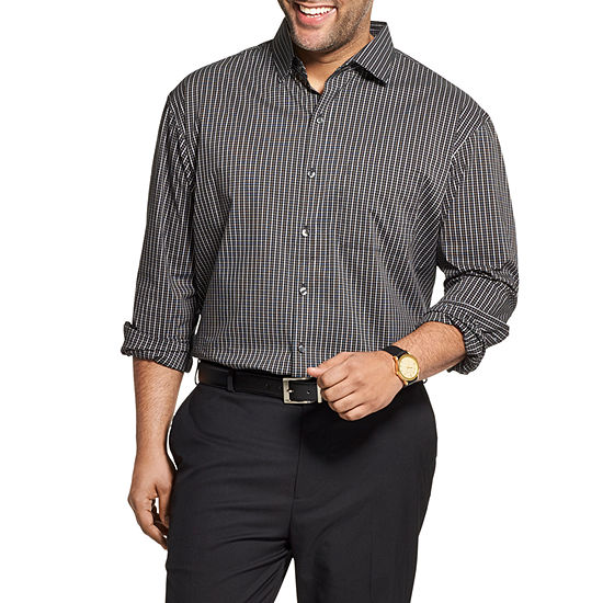 Van Heusen Big and Tall Mens Long Sleeve Cooling Plaid Button-Front Shirt