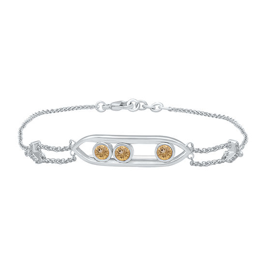Universe Fine Jewelry By Marvel Diamond Accent Genuine Yellow Topaz Sterling Silver 18 Inch Tennis Bracelet