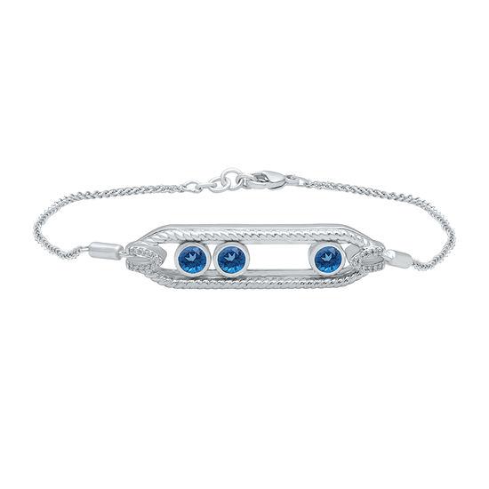 Marvel Universe Fine Jewelry By Marvel Diamond Accent Genuine Blue Topaz Sterling Silver Marvel Tennis Bracelet