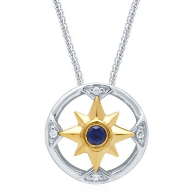 Universe Fine Jewelry By Marvel Womens Diamond Accent Genuine Blue Topaz 14K Two Tone Gold Over Silver Pendant Necklace