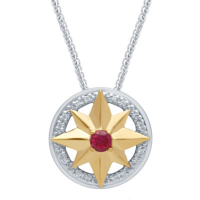 Universe Fine Jewelry By Marvel Womens Diamond Accent Genuine Red Topaz 14K Two Tone Gold Over Silver Pendant Necklace