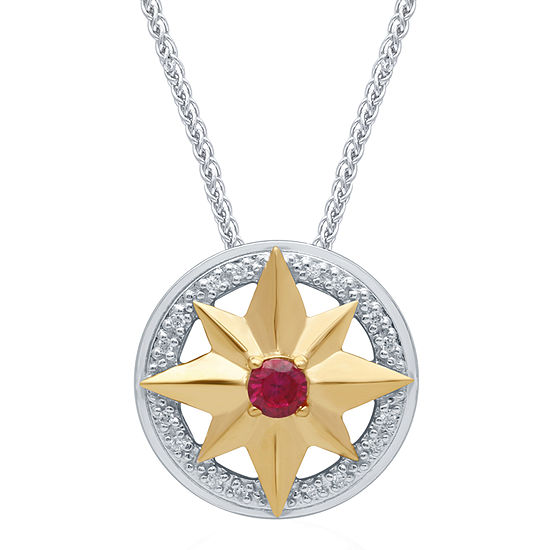 Marvel Universe Fine Jewelry By Marvel Womens Diamond Accent Genuine Red Topaz 14K Two Tone Gold Over Silver Marvel Pendant Necklace
