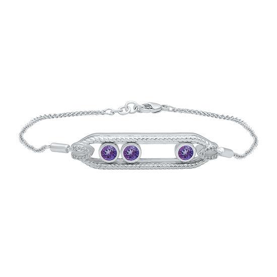 Marvel Universe Fine Jewelry By Marvel Diamond Accent Genuine Purple Topaz Sterling Silver Tennis Bracelet