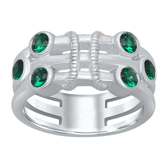 Marvel Universe Fine Jewelry By Marvel Womens Genuine Green Topaz Sterling Silver Round Cocktail Ring