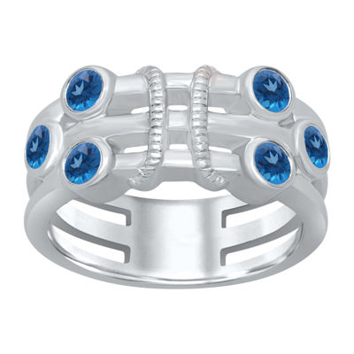Universe Fine Jewelry By Marvel Womens Genuine Blue Topaz Round Avengers Cocktail Ring