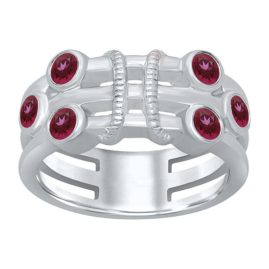 Universe Fine Jewelry By Marvel Womens Genuine Red Topaz Sterling Silver Round Cocktail Ring