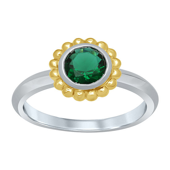 Universe Fine Jewelry By Marvel Womens Genuine Green Topaz 14k Two Tone Gold Over Silver Round Cocktail Ring