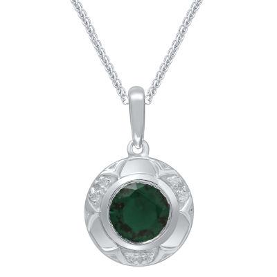 Universe Fine Jewelry By Marvel Womens Diamond Accent Genuine Green Topaz Pendant Necklace