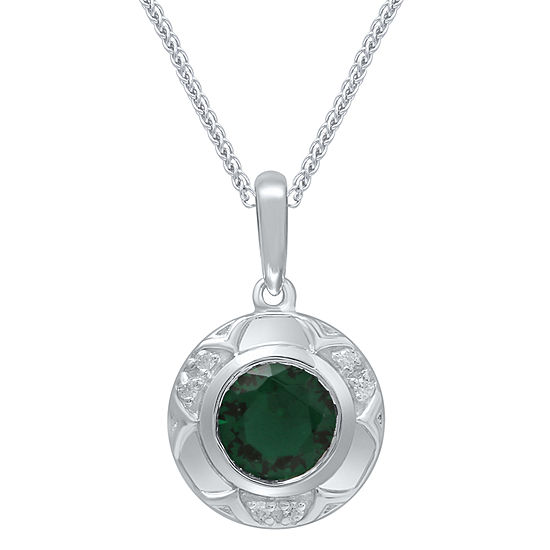 Universe Fine Jewelry By Marvel Womens Diamond Accent Genuine Green Topaz Sterling Silver Pendant Necklace
