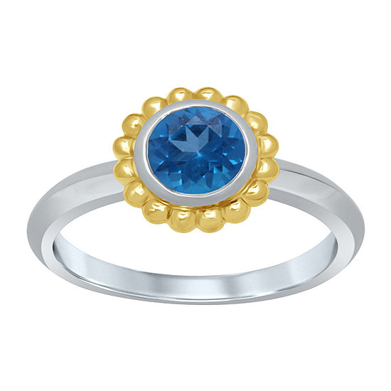 Universe Fine Jewelry By Marvel Womens Genuine Blue Topaz 14K Two Tone Gold Over Silver Round Cocktail Ring