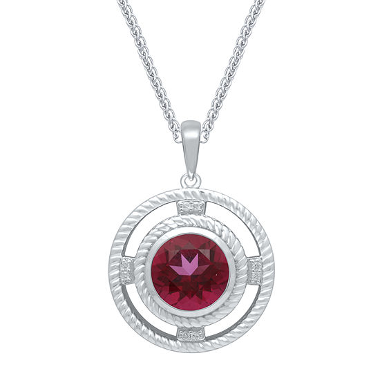 Universe Fine Jewelry By Marvel Womens Diamond Accent Genuine Red Topaz Sterling Silver Pendant Necklace