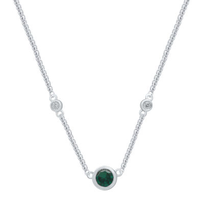 Universe Fine Jewelry By Marvel Womens Diamond Accent Genuine Green Topaz Pendant Necklace