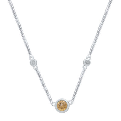 Universe Fine Jewelry By Marvel Womens Diamond Accent Genuine Yellow Topaz Sterling Silver Pendant Necklace