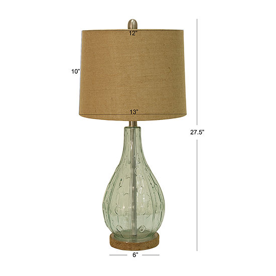 Decor Therapy Emma Embossed Glass Table Lamp
